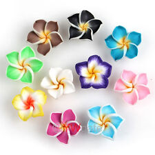 20x Various Fimo Polymer Clay 5-leaves Plumeria Flower Spacer Loose Beads 15mm