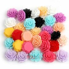 Free Ship 12pcs Various Lots Resin Rose Flowers Cabochons Cameo Flat Back 18mm