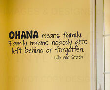 Wall Sticker Decal Quote Vinyl Art Lettering Lilo and Stitch Ohana Family B85