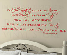 Wall Decal Sticker Quote Vinyl Art I'm Selfish and Impatient Marilyn Monroe J77
