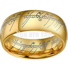 Lord of the Elvish Rings 18k Gold Tungsten Carbide ONE Ring Mens Jewelry SZ 7-13