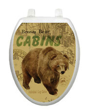 Brown Bear Toilet Tattoo, Elegant, Decor, Restroom Appliqué Cover, Grizzly Lodge