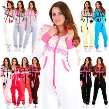 Womens HEART ONESIE Playsuit Jumpsuit Tracksuit One Piece Print Hood Ladies New