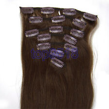 100g,70g,80g,15-28inch Clip in Real Remy Human Hair Extensions #04 Medium Brown