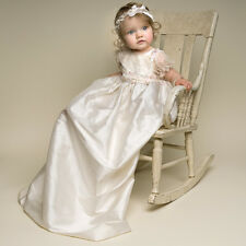 "Baby Beau & Belle ""Jessica"" Girls Ivory Silk Vintage Christening, Baptism Gown"