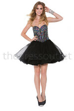 Short Dress Sequins Homecoming Sweet 16 Prom Puffy Cocktail Fun Beaded Designer