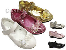 Girls children glitter wedding party casual shoes size78 9 10 11 12 13 1 1.5 2 3