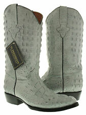 Mens gray full crocodile alligator horn back leather biker western cowboy boots