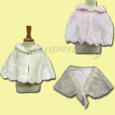 Age 1-16 NEW Baby/ Girls / Twins Poncho White Fur Shawl Cape (WHITE & ELEGANT)
