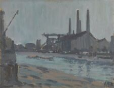 Landscape Industrial Buildings By River Hercules Brabazon Brabazon 1890 VHQ Post