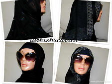 TURKISH BLACK BEADED  MULTI-SIZE SCARF/HIJAB/TURBAN/SHAWL ABAYA EID
