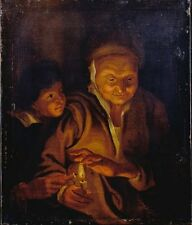 Photo Print Reproduction Boy Lighting Candle From One Held An Old Woman Ru