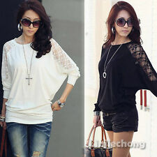 Fashion Women's Batwing Dolman Lace Casual Long Sleeve Loose T-Shirt Tops S M L