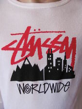New STUSSY Mens White Casual L/S Crew Printed Worldwide Thermal T Shirt Top $35