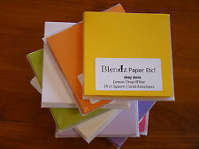 SQUARE Card Envelope Set 10 each PICK YOUR COLOR Cardstock blank QUALITY Holiday