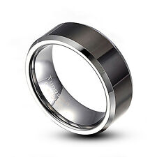 Men's 8mm Tungsten Carbide Ring Black Comfort Fit Wedding Band Size 9-14