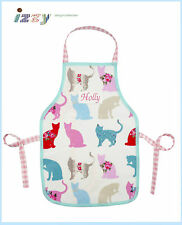 PERSONALISED SHABBY VINTAGE CHIC OILCLOTH CAT APRON CHILD & ADULT SIZES FROM UK