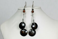 Maisha Beautiful Fashion Recycled Handmade FairTrade Dark Brown Earrings Africa