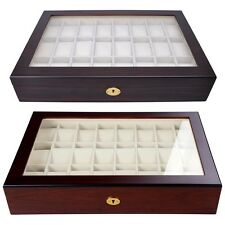 24 Wood Watch Case Glass Top Display Storage Gift Jewelry Mens Collector Box New
