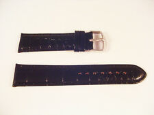 NEW BLACK LEATHER CROCODILE STYLE CUSHIONED WATCH BAND STRAP 16mm-24mm LUG SIZES