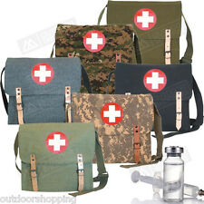 """GERMAN STYLE IMPRINTED RED CROSS INSIGNIA MEDIC BAG - Canvas, 12.5 x 10.25 x 3"""""""