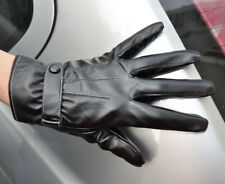 Men's Black Fashion PU Leather Wrist Gloves Driving Gloves 3 Lines