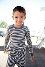Skylar Luna: Boys Organic Cotton Pajamas Set - Long Sleeved - Gray/Cream Stripe