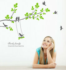 Large Tree Seven Birds Wall Decals Removable Vinyl Home Decor Stickers for Rooms