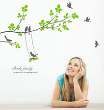 Large Tree Seven Birds Wall Decals Removable Decorative Vinyl Home Decor Sticker