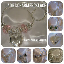 LADIES WOMENS CHARM NECKLACE MUM LOVE HEART  PAVE BEAD PEARL 8 COLOURS GIFT BOX