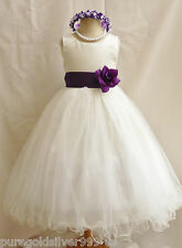 IVORY/PURPLE LAPIS FLOWER GIRL DRESS BRIDAL PARTY TODDLER PAGEANT BIRTHDAY GOWN