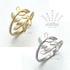 Matt Tone Plated Nature Olive Tree Branch Leaf Shaped Open Ring Adjustable Size