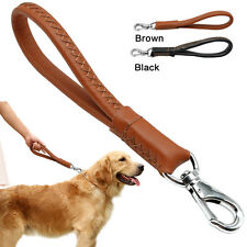Genuine Leather Safety Pet Dog Traffic Leash Dog Short Lead Heavy Duty 2 Colors