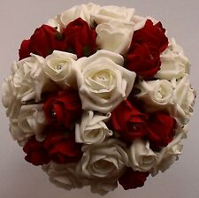 Large Ivory Ruby Red Rose Brides Wedding Crystal Diamante Hantied Roses Bouquet