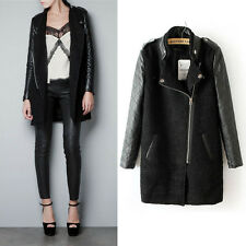 Hot women's casual fashion PU leather sleeves stand-up collar coat jacket #520