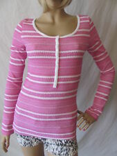 New LUCKY BRAND Womens Pink Casual L/S Scoop Henley Thermal Shirt Knit Top $49
