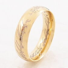 LORD OF THE RINGS 18k Yellow Gold Plated Stainless Steel Band Ring US Size 6-15