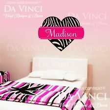 Personalized Zebra Print Heart Custom Name Vinyl Wall Decal Sticker Decoration