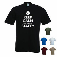 'Keep Calm and Walk the Staffy' Mens Pet Dog Staffordshire Bull Terrier T-shirt