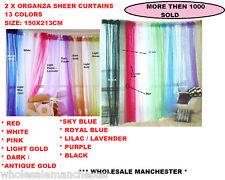 1 PAIR ORGANZA SHEER CURTAINS 150X213CM EACH -  MANY COLORS - LOWEST PRICE !!