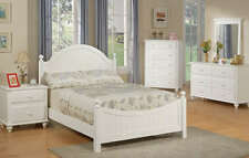 4Pcs Twin or Full Girl Kid Youth Bedroom Set in a White Finish, Hard wood