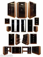 New High Gloss Black Walnut 2 Door 3 Door Wardrobe, Chest, Bedside Furniture Set
