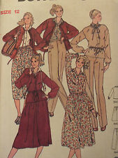 VTG 70s BUTTERICK 6190 Miss Blouse Skirt Pants & Jacket PATTERN 8~10~12~14 UC