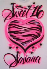 Airbrush T Shirt Zebra Heart Sweet 16, Sweet 16 Shirt, Birthday Shirt, Airbrush