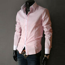 New Mens Fashion Casual Slim Fit Stylish Dress Shirts IN 5 Color US S M L XL