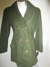 Guess Double Breasted Knit Collar Peacoat Coat Olive Green NWT $270