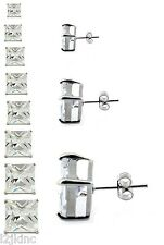 Silver Clear Square Cubic Zirconia CZ Surgical Stainless Steel Stud Earrings
