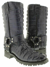 Men's  harness  full crocodile alligator tail cut biker boots cowboy motorcycle