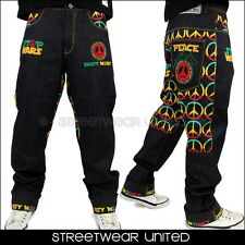 Dirty Money ® Stop Wars Peace Rasta Raw Time Turn Up Hip Hop Loose Fit is Jeans