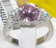size J - T 5 - 10 Pink SIMULATED DIAMOND 3 stone Engagement Ring Trilogy LTK164E